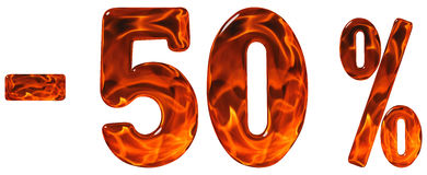 Τοις εκατό μακριά έκπτωση Μείον 50, πενήντα τοις εκατό, αριθμοί isolat στοκ εικόνες