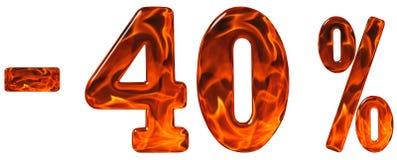 Τοις εκατό μακριά έκπτωση Μείον 40, σαράντα τοις εκατό, αριθμοί isolat Στοκ εικόνα με δικαίωμα ελεύθερης χρήσης