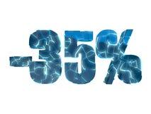 35 τοις εκατό μακριά - σπασμένο μπλε σύμβολο κειμένων Στοκ εικόνες με δικαίωμα ελεύθερης χρήσης