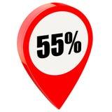 55 τοις εκατό μακριά στη στιλπνή κόκκινη καρφίτσα διανυσματική απεικόνιση