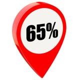 65 τοις εκατό μακριά στη στιλπνή κόκκινη καρφίτσα διανυσματική απεικόνιση