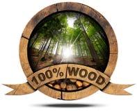 100 τοις εκατό ξύλου - ξύλινο εικονίδιο Στοκ Εικόνες