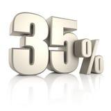 35 τοις εκατό στο άσπρο υπόβαθρο τρισδιάστατος δώστε Στοκ Εικόνες