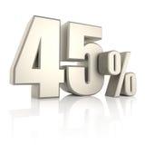 45 τοις εκατό στο άσπρο υπόβαθρο τρισδιάστατος δώστε Στοκ Εικόνες