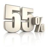 55 τοις εκατό στο άσπρο υπόβαθρο τρισδιάστατος δώστε Στοκ Εικόνες