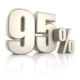 95 τοις εκατό στο άσπρο υπόβαθρο τρισδιάστατος δώστε Στοκ Εικόνα