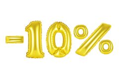 10 τοις εκατό, χρυσό χρώμα Στοκ εικόνες με δικαίωμα ελεύθερης χρήσης