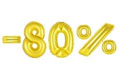 80 τοις εκατό, χρυσό χρώμα Στοκ φωτογραφία με δικαίωμα ελεύθερης χρήσης