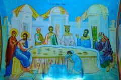 Τοιχογραφία ζωγραφικής τοίχων στην ελληνική Ορθόδοξη Εκκλησία Annunciati Στοκ Φωτογραφίες