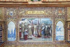 Τοιχογραφία κεραμικών κεραμιδιών Plaza de Espana στη Σεβίλη, Ισπανία Στοκ εικόνα με δικαίωμα ελεύθερης χρήσης