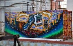 Τοιχογραφία οδών στο θάλασσα-εμπορευματοκιβώτιο στο μουσείο σιδηροδρόμων, Bassendean, δυτική Αυστραλία Στοκ εικόνες με δικαίωμα ελεύθερης χρήσης