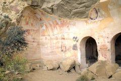 Τοιχογραφία που χρωματίζει το 13ο αιώνα, το Δαβίδ Gareja και το μοναστήρι Udabno Στοκ εικόνα με δικαίωμα ελεύθερης χρήσης