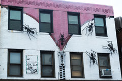 Τοιχογραφία προσόψεων με τα μυρμήγκια και το φερμουάρ Στοκ Εικόνα
