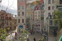 Τοιχογραφία στην πόλη του Κεμπέκ Στοκ εικόνες με δικαίωμα ελεύθερης χρήσης
