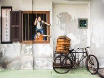Τοιχογραφία τέχνης οδών στην Τζωρτζτάουν, Penang, Μαλαισία Στοκ Εικόνες