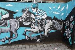 Τοιχογραφία τέχνης οδών Doncaster, ST Leger, ιππόδρομος, jockey, hors Στοκ εικόνα με δικαίωμα ελεύθερης χρήσης