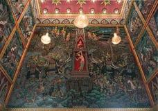 Τοιχογραφία Ταϊλανδού τρισδιάστατη στο κτύπημα Hua Suea Wat Στοκ εικόνα με δικαίωμα ελεύθερης χρήσης