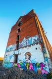 Τοιχογραφία του γερμανικού ομοσπονδιακού καγκελαρίου Άνγκελα Μέρκελ σε ένα εγκαταλειμμένο εργοστάσιο Στοκ φωτογραφία με δικαίωμα ελεύθερης χρήσης