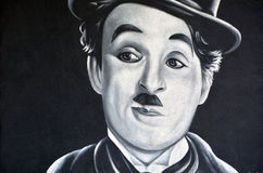 Τοιχογραφία του Τσάρλι Τσάπλιν Στοκ Εικόνες