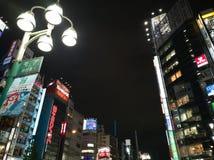 ΤΟΚΙΟ, ΙΑΠΩΝΙΑ - 5 ΝΟΕΜΒΡΊΟΥ 2018 Περιοχή ψυχαγωγίας Kabukicho Shinjuku τη νύχτα Τα σημάδια νέου φωτίζουν Άποψη της εικονικής παρ στοκ φωτογραφία με δικαίωμα ελεύθερης χρήσης