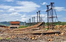 Τομέας εκφόρτωσης των ξύλινων κούτσουρων στοκ φωτογραφίες