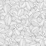 Τομέας της άγριας δασικής φράουλας πρότυπο άνευ ραφής συρμένο χέρι γραμμικός διανυσματική απεικόνιση