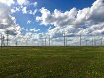 Τομέας τουλιπών και τα μαξιλάρια ηλεκτρικής ενέργειας με το νεφελώδη ουρανό στοκ φωτογραφία με δικαίωμα ελεύθερης χρήσης