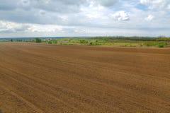 Τομέας Agircutural με το καφετί χώμα Στοκ φωτογραφία με δικαίωμα ελεύθερης χρήσης