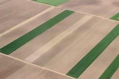Τομείς από τον αέρα Εναέρια φωτογραφία τομέων Αεροφωτογραφία των πράσινων τομέων Πράσινη εναέρια όψη πεδίων Στοκ Εικόνες