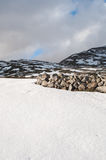 Τομείς και βουνά που καλύπτονται από το χιόνι το χειμώνα Στοκ Φωτογραφίες