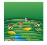Τομείς και λόφοι με το πρότυπο υποβάθρου μύλων Στοκ Εικόνες