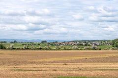 Τομείς του Ayrshire που κοιτάζουν στην πόλη των δανείων και το υψηλό άλσος στη Σκωτία στοκ εικόνα με δικαίωμα ελεύθερης χρήσης