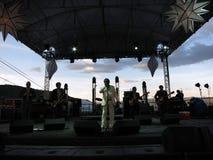 Τομείς του Lee & το παιχνίδι εκφράσεων στη σκηνή κατά τη διάρκεια της συναυλίας με το μ Στοκ Φωτογραφίες