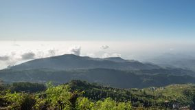 Τομείς φυτειών τσαγιού καθισμάτων της Σρι Λάνκα Lipton σε Nuwara Eliya χρόνος-σφάλμα κατά τη διάρκεια της ανατολής με τα σύννεφα  απόθεμα βίντεο