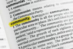 Τονισμένα αγγλικά λέξη & x22 community& x22  και ο καθορισμός του στο λεξικό Στοκ φωτογραφία με δικαίωμα ελεύθερης χρήσης