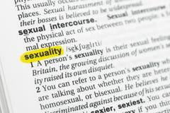 Τονισμένα αγγλικά λέξη & x22 sexuality& x22  και ο καθορισμός του στο λεξικό Στοκ Φωτογραφία