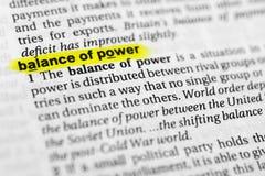 Τονισμένη αγγλική ισορροπία δυνάμεων ` λέξης ` και ο καθορισμός του στο λεξικό Στοκ Εικόνα