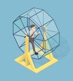 Τονισμένος επιχειρηματίας που τρέχει στη ρόδα αρουραίων απεικόνιση αποθεμάτων