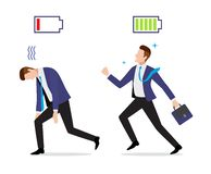 Τονισμένος καταπονημένος και σφριγηλός επιχειρηματίας με το φορτισμένο και εκφορτισμένο εικονίδιο μπαταριών ελεύθερη απεικόνιση δικαιώματος
