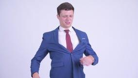 Τονισμένος νέος επιχειρηματίας που έχει τον πόνο στην πλάτη απόθεμα βίντεο