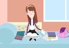 Τονισμένος σπουδαστής που μελετά στο σπίτι την απεικόνιση χαρακτήρα κινουμένων σχεδίων Ελεύθερη απεικόνιση δικαιώματος