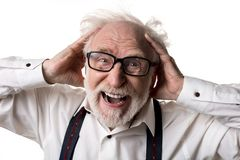 Τονισμένο ηλικιωμένο άτομο που καταδεικνύει την ενόχλησή του στοκ εικόνα με δικαίωμα ελεύθερης χρήσης