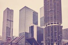 Τονισμένο τρύγος Σικάγο κεντρικός μια νεφελώδη ημέρα Στοκ Εικόνες
