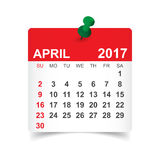 Τον Απρίλιο του 2017 ημερολόγιο Στοκ Φωτογραφία