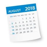 Τον Αύγουστο του 2018 ημερολογιακό φύλλο - απεικόνιση Στοκ εικόνες με δικαίωμα ελεύθερης χρήσης