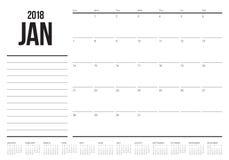 Τον Ιανουάριο του 2018 διανυσματική απεικόνιση ημερολογιακών αρμόδιων για το σχεδιασμό Στοκ Εικόνα