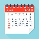 Τον Ιούνιο του 2019 ημερολογιακό φύλλο - διανυσματική απεικόνιση διανυσματική απεικόνιση