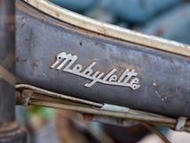 Τον Ιούνιο του 2018 Houtaud/Houtaud/Franche Comté/France/: Λογότυπο Mobylette στοκ φωτογραφία