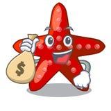 Τον κόκκινο αστερία τσαντών χρημάτων που απομονώνεται με με το χαρακτήρα διανυσματική απεικόνιση
