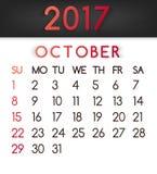 Τον Οκτώβριο του 2017 ημερολογιακό διάνυσμα σε ένα επίπεδο ύφος στους κόκκινους τόνους Στοκ Εικόνες